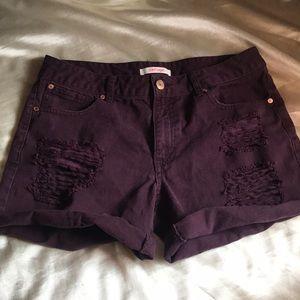 Maroon distressed shorts